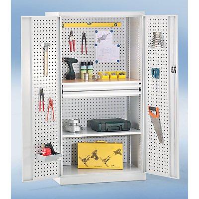 Werkzeugschrank mit Lochprägung - 2 Schubladen, 1 Fachboden, 1 Arbeitsplatte