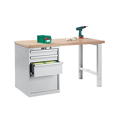 Lista Werkbank komplett, Buche-Multiplex-Arbeitsplatte - Höhe 840 mm, Unterstellschrank, 4 Schubladen