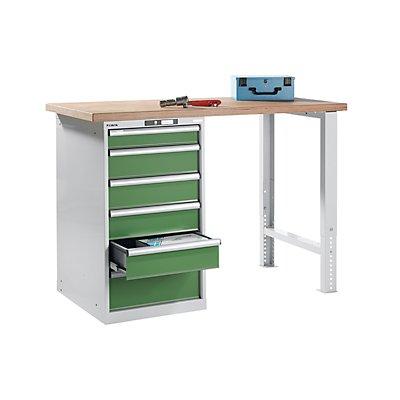 Lista Werkbank komplett, Buche-Multiplex-Arbeitsplatte - Höhe 1040 mm, Unterstellschrank, 6 Schubladen