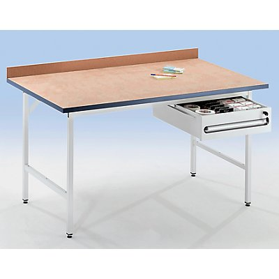 RAU Arbeitstisch, höhenverstellbar - 800 – 850 mm, Linoleum-Platte