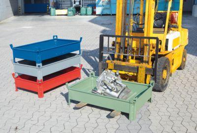 Heson Stapelbehälter aus Stahlblech, niedrige Bauform, Wände geschlossen - BxL 800 x 1200 mm, Traglast 500 kg
