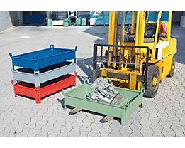 Heson Stapelbehälter aus Stahlblech, niedrige Bauform, Wände geschlossen - BxL 800 x 1000 mm, Füllhöhe 200 mm - Traglast bis 1000 kg, ab 5 Stk