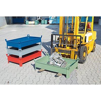 Heson Stapelbehälter aus Stahlblech, niedrige Bauform, Wände geschlossen - BxL 500 x 800 mm, Traglast 1000 kg