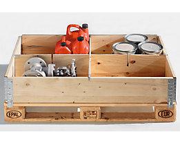 Aufsatzrahmen-Teiler, Satz - für Palette 1200 x 800 mm - 4 Fächer, für Rahmenhöhe 200 mm