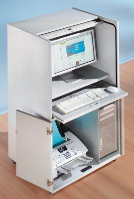 office akktiv Computerschrank mit Kunststoffrollladen, mobil - Premium Variante, HxBxT 1320 x 725 x 642 mm - ohne Einlegeboden