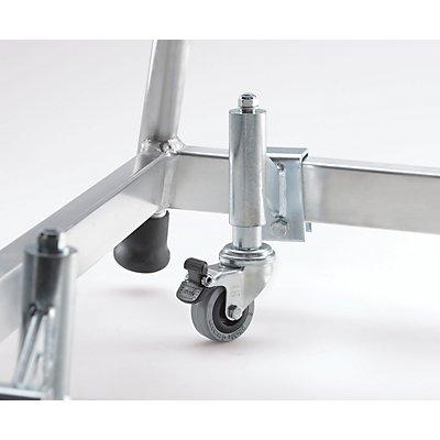 Fahrsatz für Montagetritt - 4 Feder-Bremsrollen - Rad-Ø 50 mm