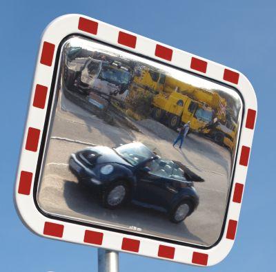 Verkehrsspiegel im XXL-Format - aus Acrylglas, BxH 1200 x 1000 mm - Beobachterabstand 27 – 35 m