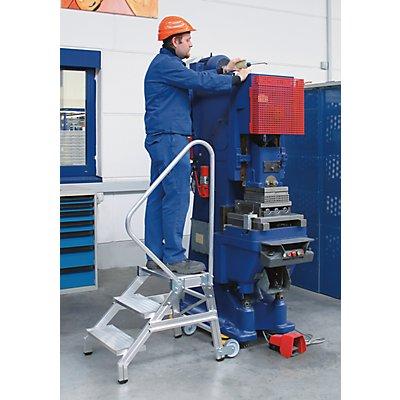 EUROKRAFT Schwerlast-Montagetritt - MOBIL, Tragfähigkeit 300 kg