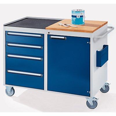 RAU Werkbank, fahrbar - 4 Schubladen, 1 Tür, Arbeitsfläche Holz / Metall, lichtgrau / enzianblau