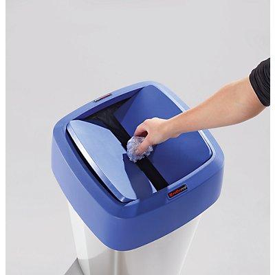 Rothopro Collecteur de tri METALLIC - modèle KLASSIK, carré, couvercle rabattable