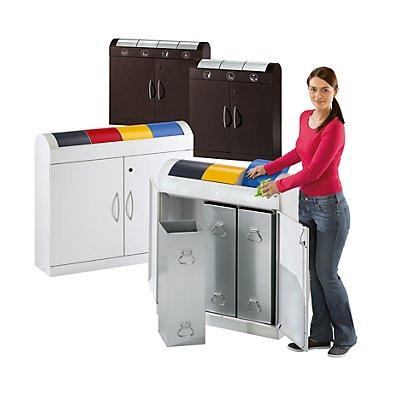 Collecteurs modulaires de tri des déchets - corps gris clair, h x p 975 x 320 mm