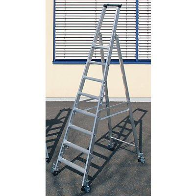 Günzburger Steigtechnik Stufen-Stehleiter, einseitig - Ausführung mobil