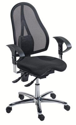 Topstar Operator-Drehstuhl, Permanentkontaktmechanik und Orthositz® - mit Body Balance Tec®, Rückenlehne mit Netzbezug