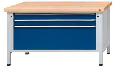Werkbank mit XL/XXL-Schubladen - Breite 1500 mm, 3 Schubladen - Universalplatte, Front enzianblau