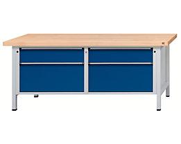 Werkbank mit XL/XXL-Schubladen - Breite 2000 mm, 4 Schubladen