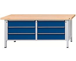 Werkbank mit XL/XXL-Schubladen - Breite 2000 mm, 6 Schubladen 180 mm