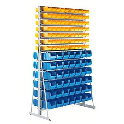 EUROKRAFT Ständerregal mit Sichtlagerkästen - doppelseitig, mit 224 Sichtlagerkästen