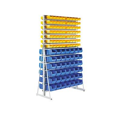 EUROKRAFT Ständerregal mit Sichtlagerkästen - doppelseitig - mit 80 Sichtlagerkästen