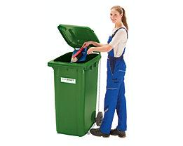 Conteneur à déchets en plastique conforme à la norme DIN EN 840 - capacité 240 l, h x l x p 1067 x 580 x 730 mm