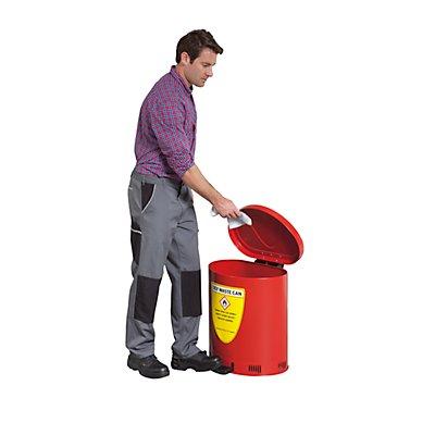Denios Sicherheits-Entsorgungsbehälter, Deckel selbstschließend - aus Stahlblech