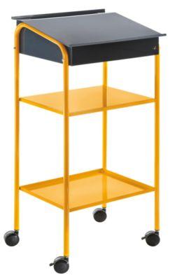 QUIPO Werkstattpult, stationär - mit 2 festen Stahlblechböden, BxTxH 500 x 595 x 1225 mm