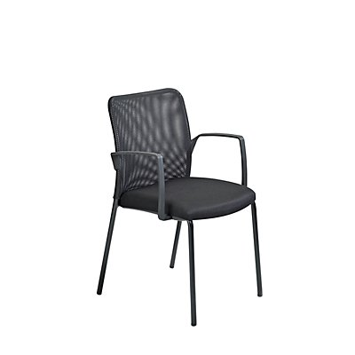 Dauphin Besucherstuhl mit Netzrückenlehne - schwarz, VE 4 Stk