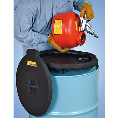 Justrite Fasstrichter aus PE - für brennbare Flüssigkeiten, mit Flammsperre