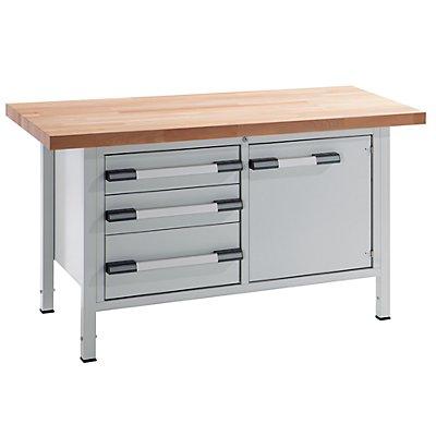 EUROKRAFT Werkbank, höhenverstellbar - Breite 1500 mm, 3 Schubladen, 1 Tür