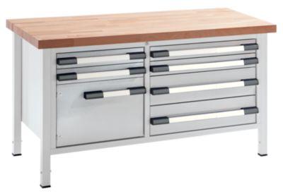 EUROKRAFT Werkbank, höhenverstellbar - Breite 1500 mm, 6 Schubladen, 1 Tür