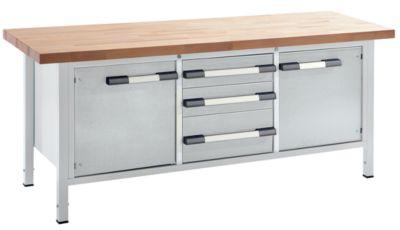 EUROKRAFT Werkbank, höhenverstellbar - Breite 2000 mm, 3 Schubladen, 2 Türen