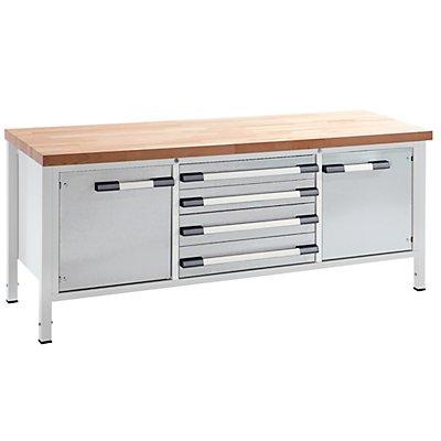 EUROKRAFT Werkbank, höhenverstellbar - Breite 2000 mm, 4 Schubladen, 2 Türen