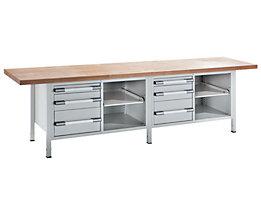 EUROKRAFT Werkbank, höhenverstellbar - Breite 3000 mm, 6 Schubladen