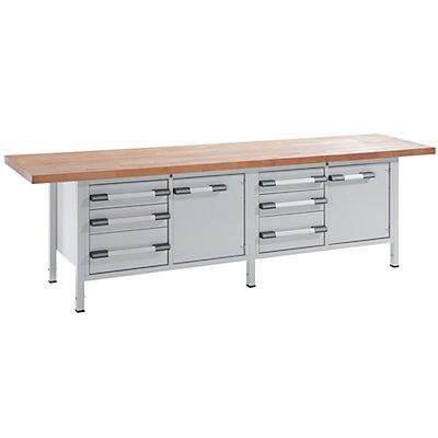 EUROKRAFT Werkbank, höhenverstellbar - Breite 3000 mm, 6 Schubladen, 2 Türen