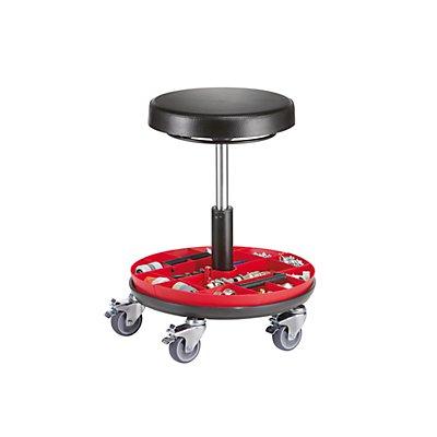Arbeitshocker mit Werkzeugablage - Gasfeder-Höhenverstellung - mit PU-Schaum-Sitz