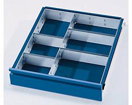 Schubladeneinteilungs-Set - 1 Trennwand, 4 Steckwände - für Schubladenhöhe 120 + 150 mm