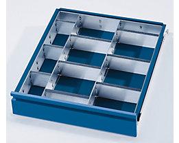 Schubladeneinteilungs-Set - 2 Trennwände, 9 Steckwände - für Schubladenhöhe 120 + 150 mm