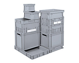 Euro-Stapelbehälter - Inhalt 23 l, LxBxH 400 x 300 x 270 mm, PP - grau, ab 10 Stk