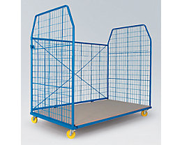 Rollbehälter UNIVERSAL 2010 - Seitengitter und Rückwand, Maschenweite 50 x 100 mm