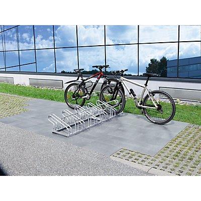 EUROKRAFT Fahrradständer, Bügel aus Stahlrohr, Radeinstellung zweiseitig
