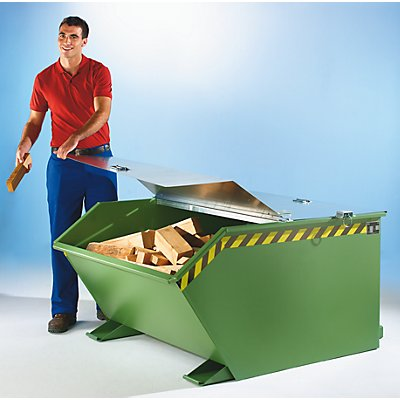 BAUER Klappdeckel - für Behälter-Inhalt 1,5 m³ - verzinkt
