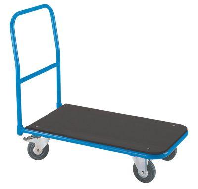 EUROKRAFT Plattform-Magazinwagen - mit anschraubbarem Schiebebügel - Ladefläche MDF-Platte