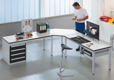 EUROKRAFT Arbeitsplatzsystem für industrielles Umfeld - Anbautisch mit Standschrank