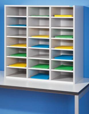 office akktiv Sortieraufsatz - HxBxT 922 x 913 x 420 mm, 21 Fächer - lichtgrau RAL 7035