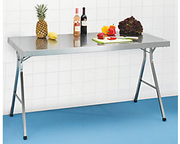 Table pliante en inox - hauteur de travail 850 mm