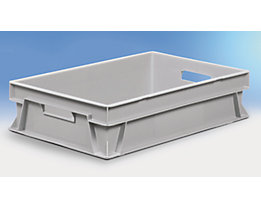 Euro-Stapelbehälter - Inhalt 25 l, LxBxH 600 x 400 x 145 mm, PE - grau, ab 10 Stk