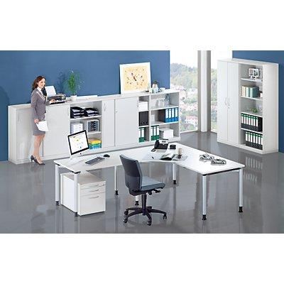fm büromöbel THEA Schiebetürenschrank - 2 Fachböden, 3 Ordnerhöhen