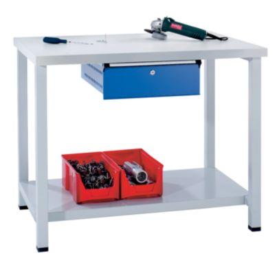 Werkbank kompakt, Universalplatte - BxT 1140 x 650 mm, 1 Schublade