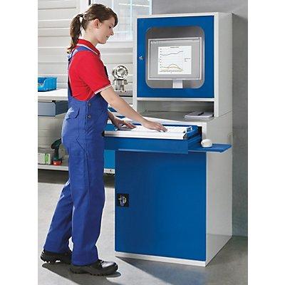 QUIPO PC Schrank Industrie - HxBxT 1600 x 600 x 695 mm - 1 Fachboden, 1 Auszugboden