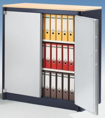 Stahlschrank, feuergeschützt - 2 Fachböden verstellbar, Breite 1200