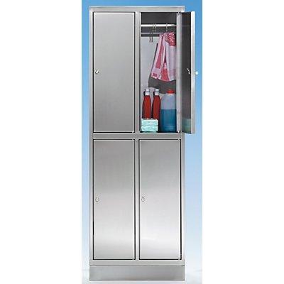KEK Edelstahlschrank - Garderobenschrank - 4 Fächer mit je 1 Kleiderstange
